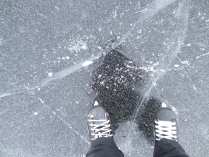 Skating on the frozen sea