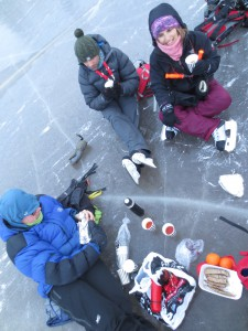 Lunch while skating on the frozen sea
