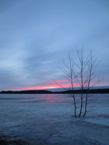 Sunset on the frozen sea at 2:30 pm